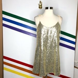 NEW Urban Outfitters sequin tie shoulder dress
